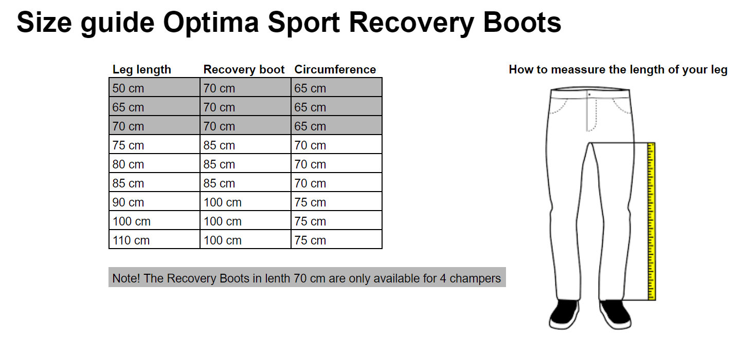 måleskema optima sport recovery boots